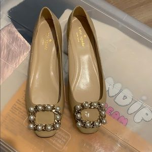 Kate Spade jewelled nude leather flats